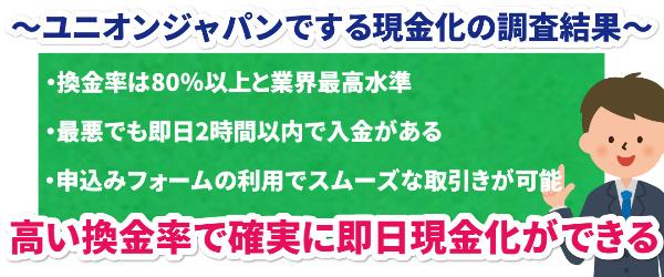 ユニオンジャパンでする現金化の調査結果