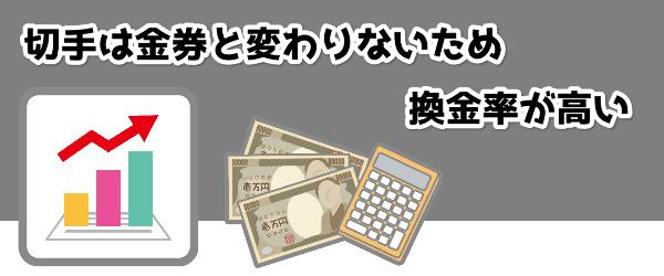 切手は金券と変わりないため換金率が高い